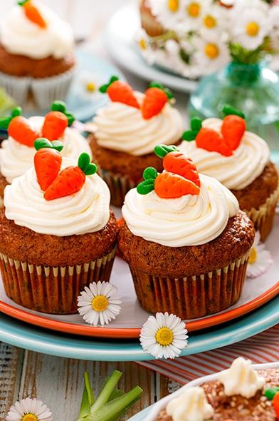 Cupcakes de zanahoria para pascua de resurrección