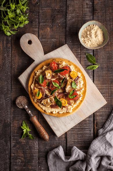 Pizza con harina de garbanzos Iansa Agro