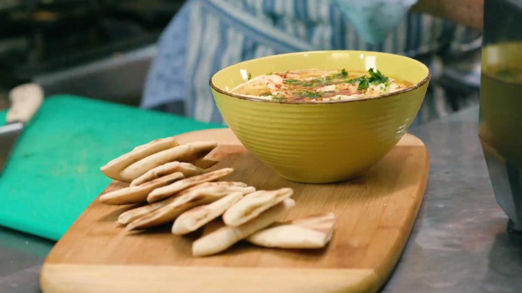 Hummus de garbanzos con vegetales