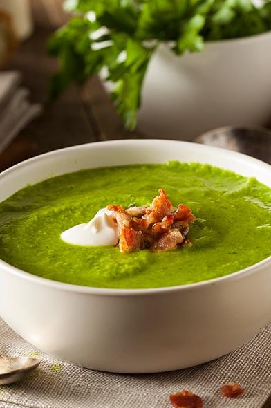Crema de arvejas verdes partidas Iansa Agro con tocino